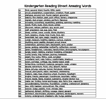 Reading Street Kindergarten Amazing Words and Sight Words (BLUE)