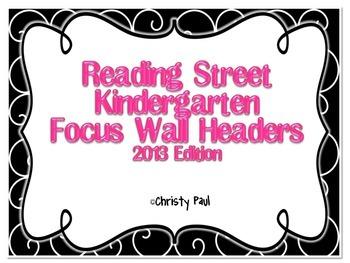 Reading Street Kindergarten Black and Pink Focus Wall Headers