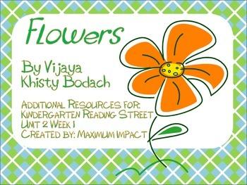 """Reading Street Kindergarten """"Flowers"""" Resources"""