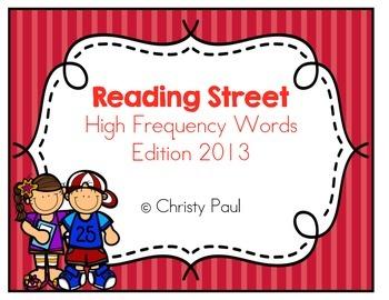 Reading Street Kindergarten High Frequency Words Red Background