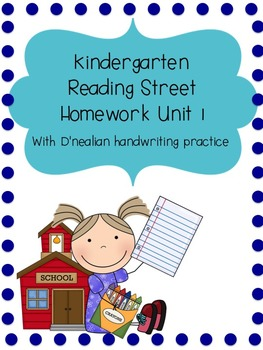 Reading Street Kindergarten Homework Unit 1 (D'nealian han