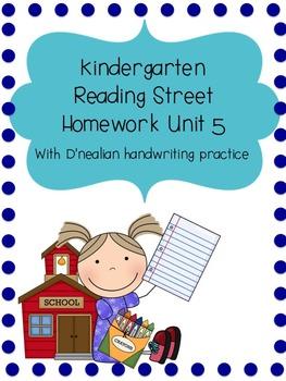 Reading Street Kindergarten Homework Unit 5 (D'nealian handwriting practice)