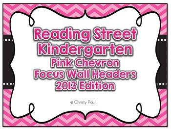 Reading Street Kindergarten Pink Chevron Focus Wall Headers
