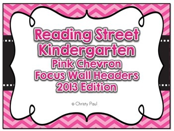 Reading Street Kindergarten Pink Chevron Focus Wall Headers