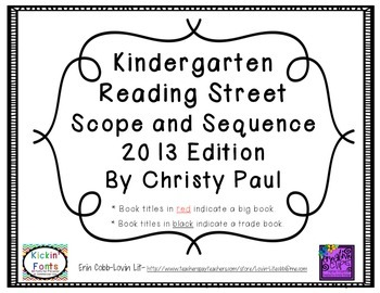 Reading Street Kindergarten Scope and Sequence