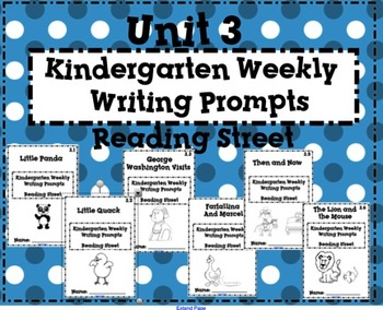 Reading Street Kindergarten Weekly Writing Prompts Unit 3