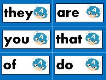 Reading Street Kindergarten sight words - SUPERHERO theme, editable