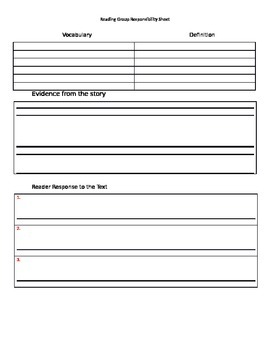 Reading Street Leveled Readers Responsibility Sheet