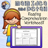 Main Idea and Detail Reading Comprehension Worksheet