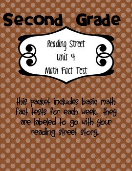 Reading Street Math Fact Test for Unit 4