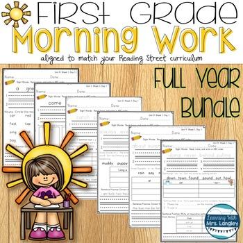 1st Grade Morning Word Work BUNDLE UNITS R, 1, 2, 3, 4, 5