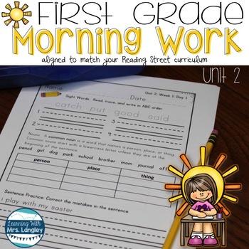 Morning Work First Grade UNIT 2