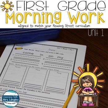 Morning Work First Grade UNIT 1