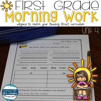 Morning Work First Grade Unit 4