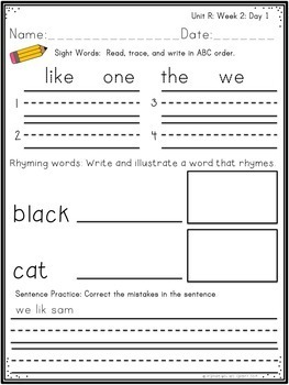 Morning Work First Grade Unit R