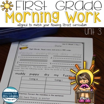 Morning Work First Grade UNIT 3