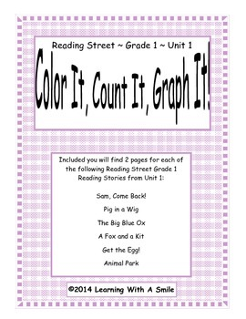 Reading Street First Grade Spelling Activity: Color, Count, Graph It!~ Unit 1