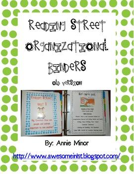 Reading Street Old Version First Grade Organizational Binders