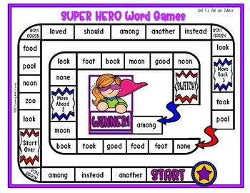 Reading Street Resource SUPER HERO WORD GAMES First Grade Unit 5