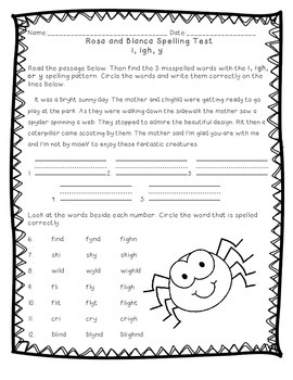Reading Street: Unit 3 -  Rosa and Blanca Spelling Word Blocks and Test