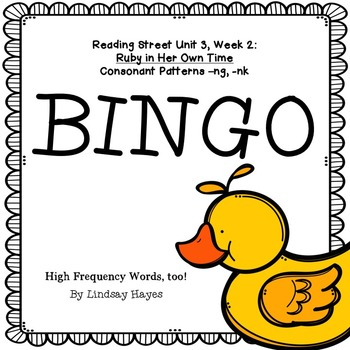 Reading Street: Ruby in Her Own Time BINGO Consonant Patterns -ng, -nk