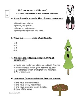 ( Saving the Rainforests - grade 6 Reading Street Reading Test/ Quiz)