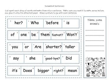 Reading Street Scrambled Sentences Unit 3