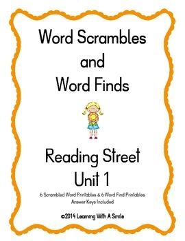 Reading Street ~Scrambled Words & Word Finds for Unit 1 ~ Grade 1
