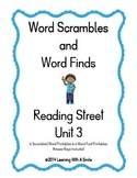 Reading Street ~Scrambled Words & Word Finds for Unit 3 ~ Grade 1