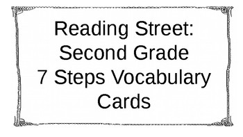 Reading Street: Second Grade 7 Steps Vocabulary Cards Unit 1
