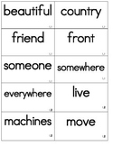 Reading Street Second Grade High Frequency/Vocabulary Words