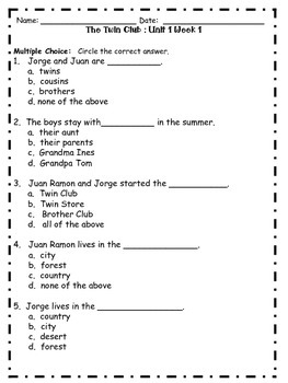 Reading Street Second Grade Unit 1 Selection Test
