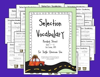 Reading Street Selection Vocabulary, 2nd Grade, 2013
