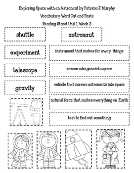 Reading Street  Selection Vocabulary Word Cut and Paste  - 2nd Grade