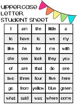 Progress Monitoring Sight Words | Reading Street | Kindergarten
