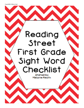 Reading Street Sight Word Checklist