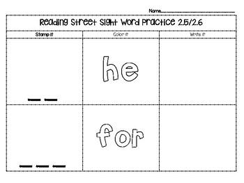 Reading Street Kindergarten Sight Word Practice Pack