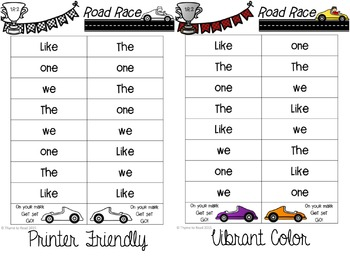 Reading Street Sight Word Road Race Game - Unit 2