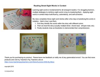 Reading Street Sight Word Story Unit 1 Week 6
