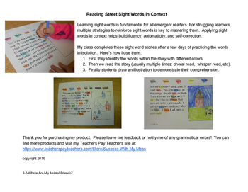 Reading Street Sight Word Story Unit 3 Week 6