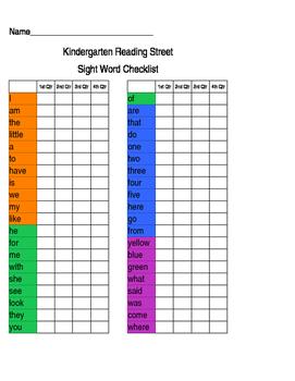 Reading Street Sight Work Checklist