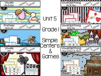 Grade 1 Phonics Simple Centers {ALL Year}  Bundled set