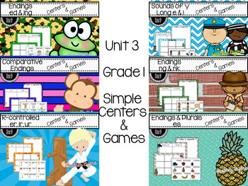 Grade 1 Phonics Simple Centers {ALL Year}  Bundled set