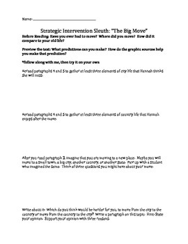 Reading Street Sleuth - Unit 4, Week 4 The Big Move Differentiated Questions
