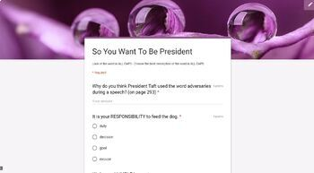 Reading Street - So You Want To Be President Vocabulary TEST