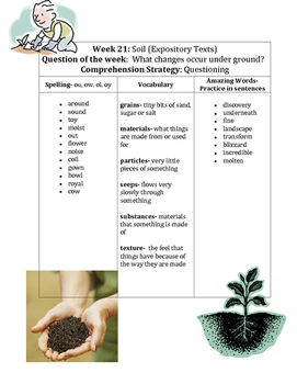 Reading Street Soil Spelling Words and Vocabulary