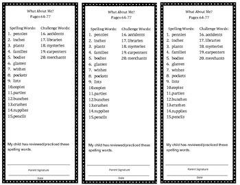 Reading Street Spelling Bookmarks Grade 3