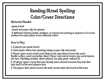 Reading Street Spelling Color/Cover Games