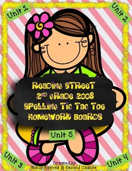 Reading Street Spelling Homework Boards 2nd Grade 2008