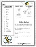 Reading Street Spelling Homework Unit 1 Week 1